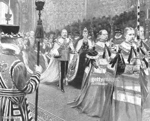 Her Majesty passing through the Royal Gallery at the opening of King Edward VII's First Parliament February 14 1901' King Edward VII and his wife...