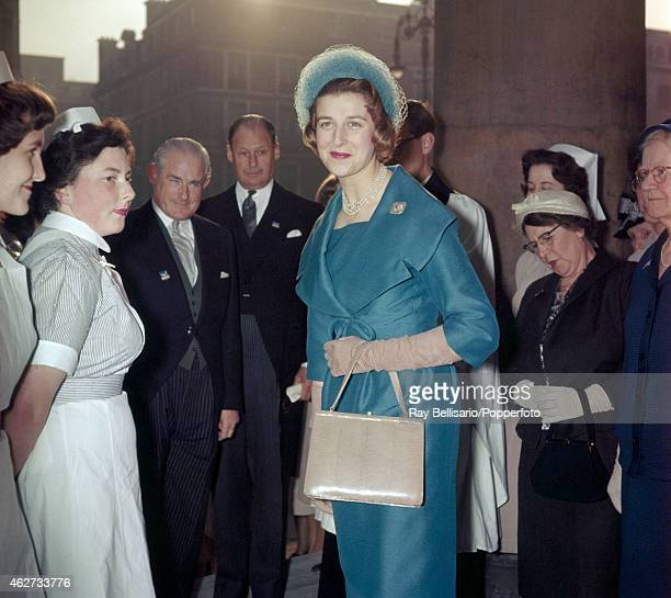 Princess Alexandra attending a service at All Souls Church Langhan Place in London on 12th April 1960