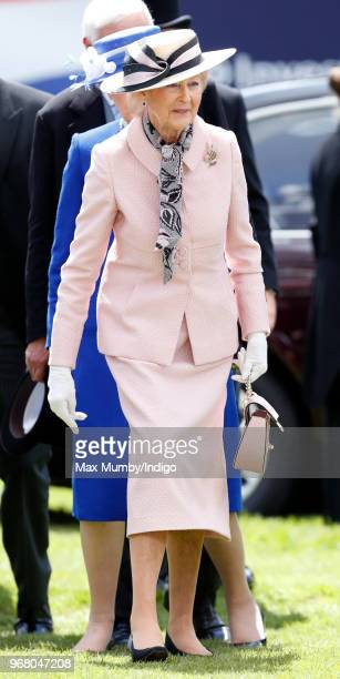 Princess Alexandra attends Derby Day of the Investec Derby Festival at Epsom Racecourse on June 2, 2018 in Epsom, England.