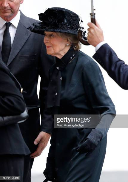 Princess Alexandra attends the funeral of Patricia Knatchbull, Countess Mountbatten of Burma at St Paul's Church, Knightsbridge on June 27, 2017 in...