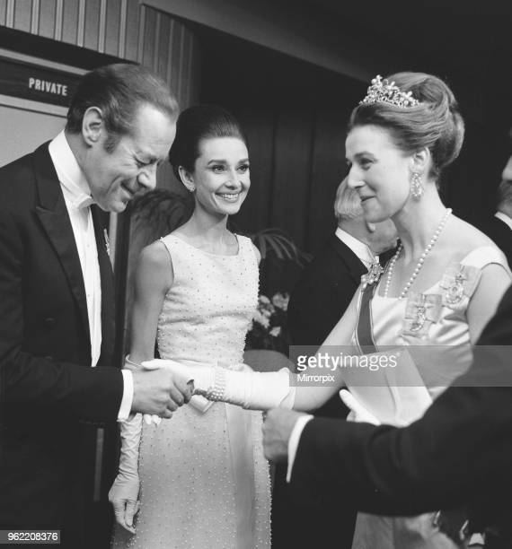 Princess Alexandra attends the premier of 'My Fair Lady' at the Warner Theatre Leicester Square London Princess Alexandra shaking hands with Rex...