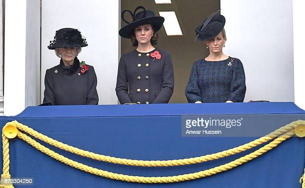 Princess Alexandra, Catherine, Duchess of Cambridge and Sophie, Countess of Wessex attend the annual Remembrance Sunday memorial at the Cenotaph on...