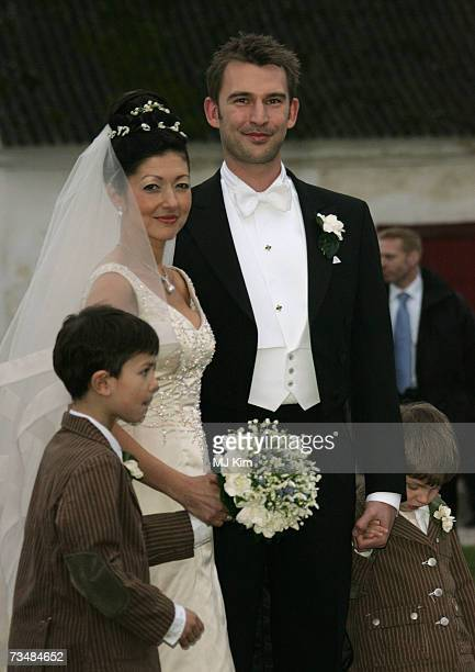 Princess Alexandra Christina of Denmark and her husband Martin Jorgensen pose after their wedding ceremony at Oster Egende Church on March 03 2007 in...