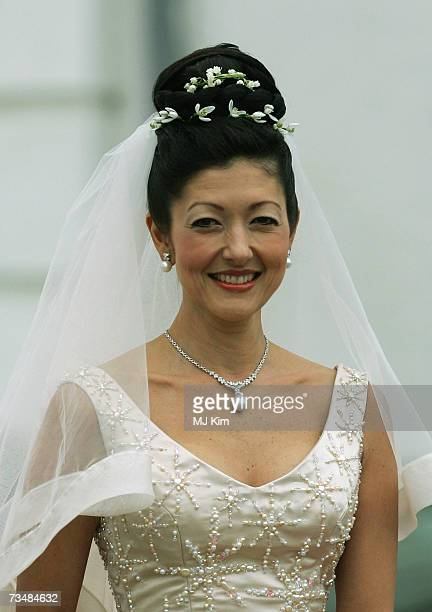 Princess Alexandra Christina of Denmark arrives for her wedding ceremony to photographer Martin Jorgensen at Oster Egende Church on March 03 2007 in...