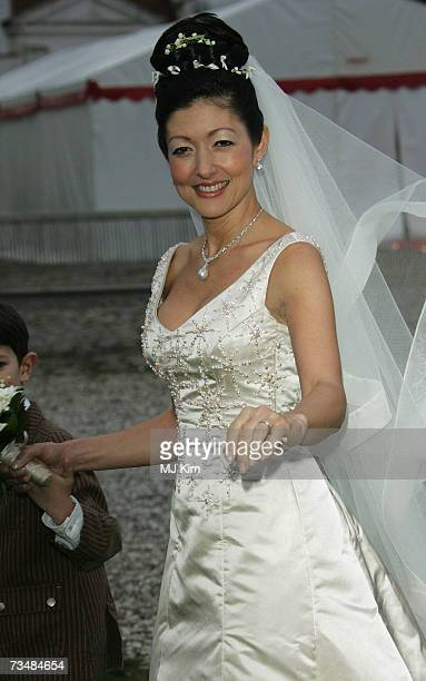 Princess Alexandra Christina of Denmark poses after her wedding ceremony at Oster Egende Church on March 03 2007 in Fakse Denmark