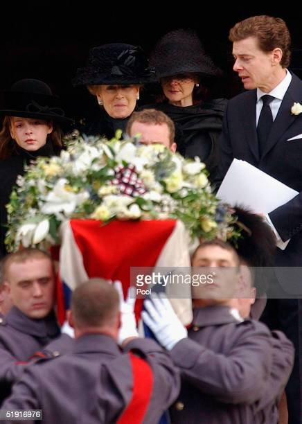 Princess Alexandra follows the coffin of her husband Sir Angus Ogilvy with their daughter Marina son James and grandaughter Zenouska Mowatt after his...