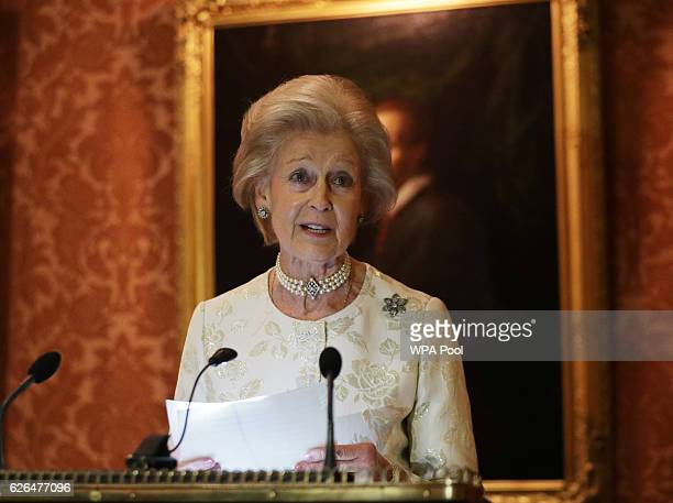 Princess Alexandra gives a speech during a reception to celebrate the patronages of the Princess, in the year of her 80th birthday at Buckingham...