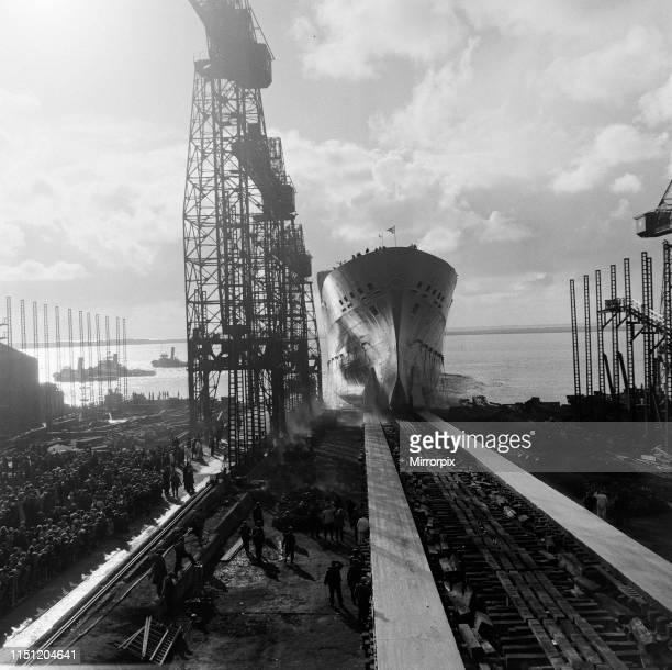 Princess Alexandra launches the SS Oriana ship at BarrowinFurness Cumbria 3rd November 1959