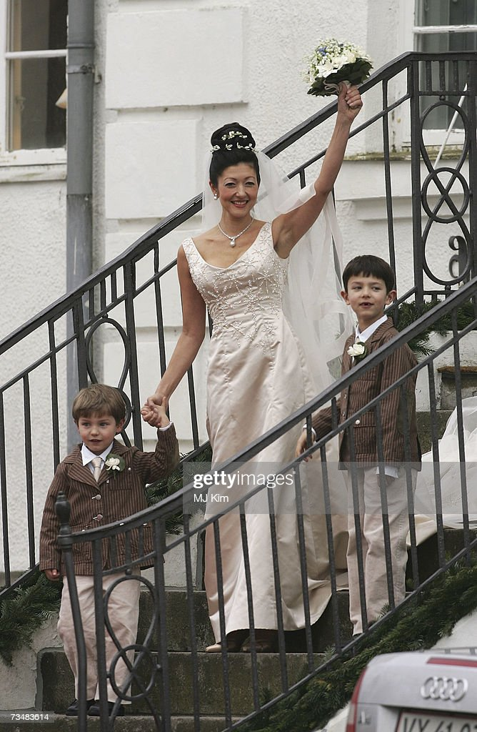 Princess Alexandra of Denmark and her children Prince Felix (L) and Prince Nicolai arrive her wedding ceremony to photographer boyfriend Martin Jorgensen at Oster Egende Church on March 2, 2007 in Fakse, Denmark.