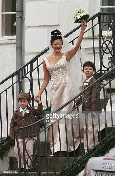 Princess Alexandra of Denmark and her children Prince Felix and Prince Nicolai arrive her wedding ceremony to photographer boyfriend Martin Jorgensen...
