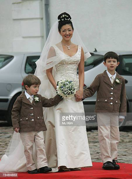 Princess Alexandra of Denmark and her children Prince Felix and Prince Nicolai arrive for her wedding ceremony to Martin Jorgensen at Oster Egende...