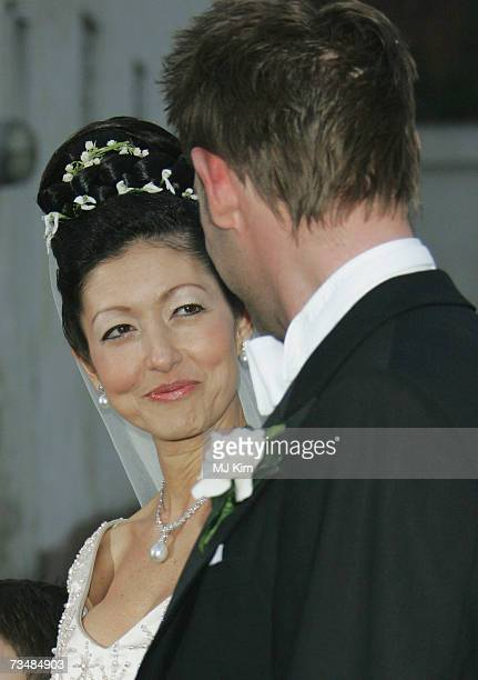 Princess Alexandra of Denmark and her husband Martin Jorgensen pose for photographers after their wedding ceremony at Oster Egende Church on March 3...