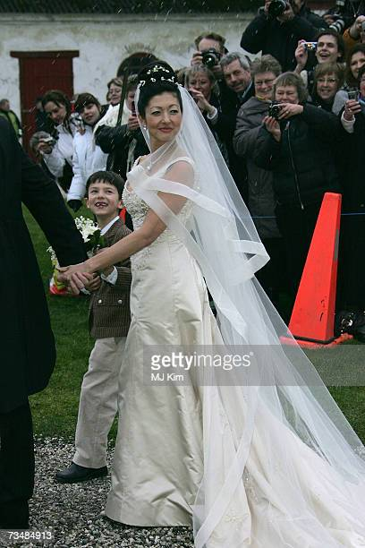 Princess Alexandra of Denmark and her son Prince Nicolai pose for photographers after her wedding ceremony at Oster Egende Church on March 03 2007 in...