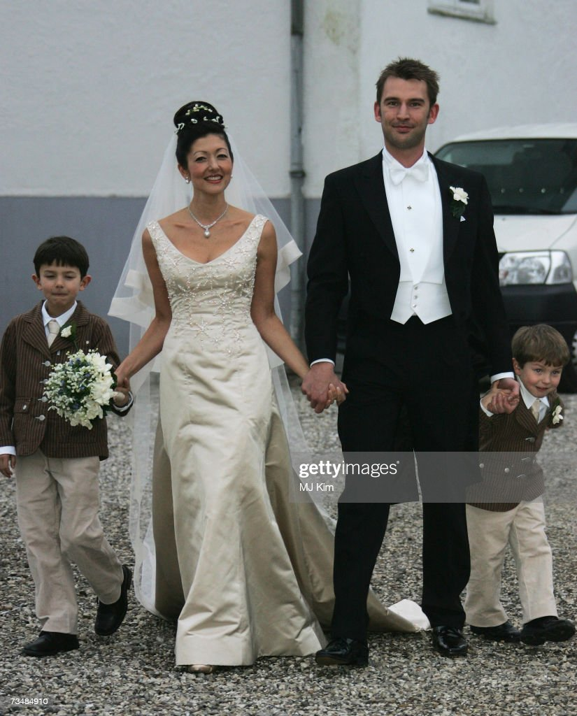 Princess Alexandra of Denmark, her husband Martin Jorgensen and her children Prince Nicolai (L) and Prince Felix pose after the wedding ceremony at Oster Egende Church on March 03, 2007 in Fakse, Denmark.