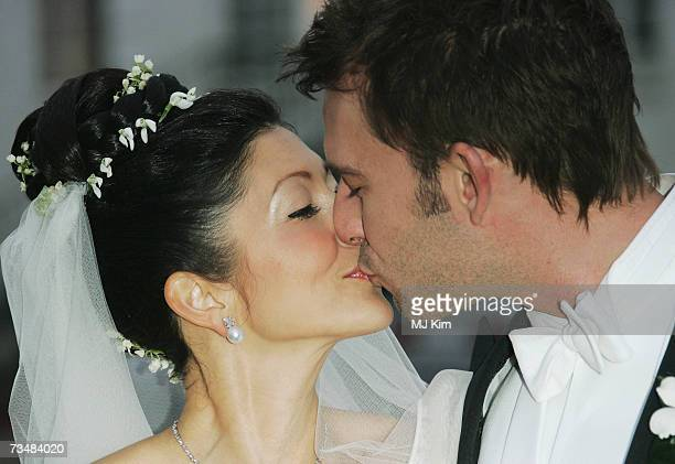 Princess Alexandra of Denmark kisses her husband Martin Jorgensen after their wedding ceremony at Oster Egende Church on March 3 2007 in Fakse Denmark