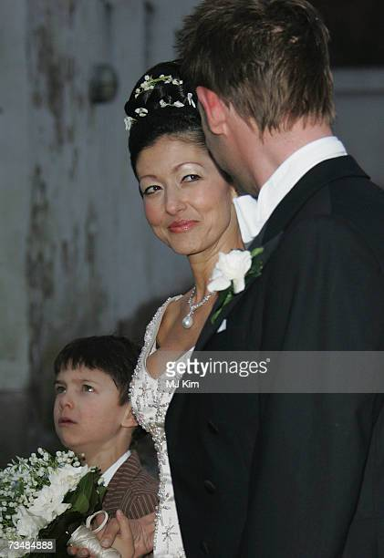 Princess Alexandra of Denmark looks at her husband Martin Jorgensen after their wedding ceremony at Oster Egende Church on March 3 2007 in Fakse...