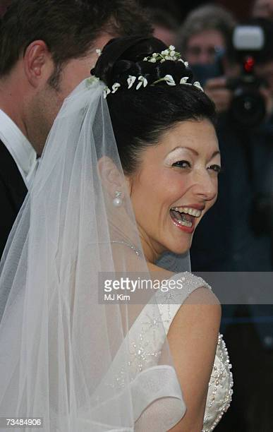 Princess Alexandra of Denmark poses for photogrpahers after her wedding ceremony to photographer Martin Jorgensen at Oster Egende Church on March 03...
