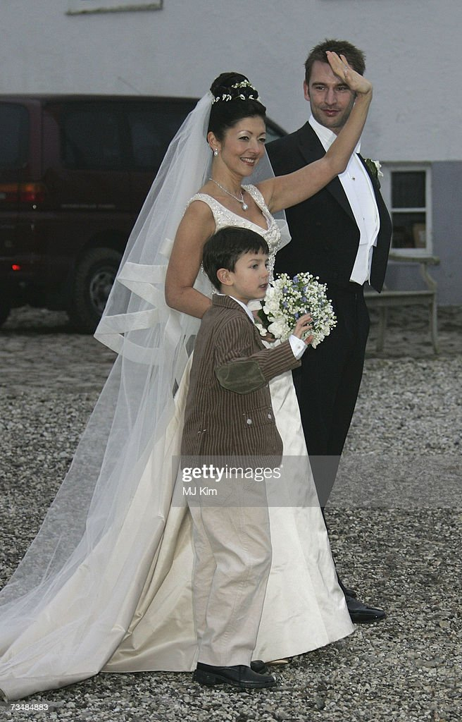 Princess Alexandra of Denmark, Prince Nicolai and her husband Martin Jorgensen pose for photographers after their wedding ceremony at Oster Egende Church on March 3, 2007 in Fakse, Denmark.