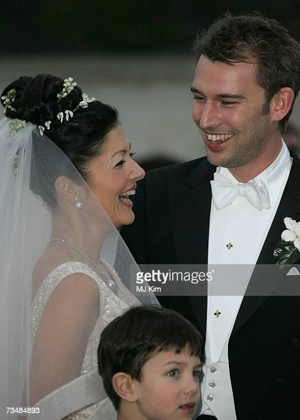 Princess Alexandra of Denmark Prince Nicolai and her husband Martin Jorgensen pose for photographers after their wedding ceremony at Oster Egende...
