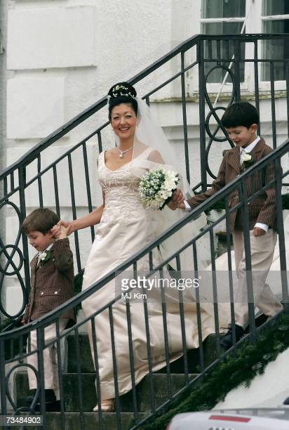 Princess Alexandra of Denmark with her children Prince Felix and Prince Nicolai arrive for her wedding ceremony to photographer Martin Jorgensen at...