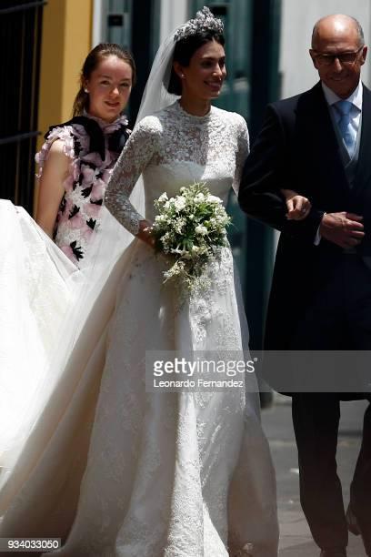 Princess Alexandra of Hanover acompanies the bride Alessandra de Osma prior to her wedding with Prince Christian of Hanover at Basilica San Pedro on...