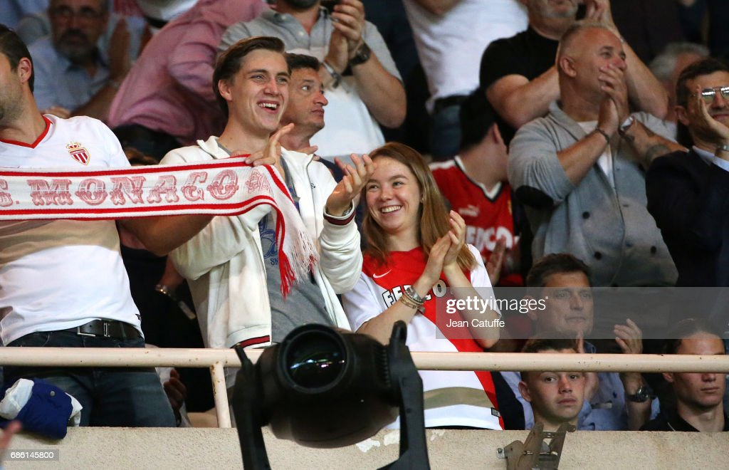 Princess Alexandra of Hanover and Ben-Silvester Strautmann during the French Ligue 1 Championship title celebration following the match between AS Monaco and AS Saint-Etienne (ASSE) at Stade Louis II on May 17, 2017 in Monaco, Monaco.