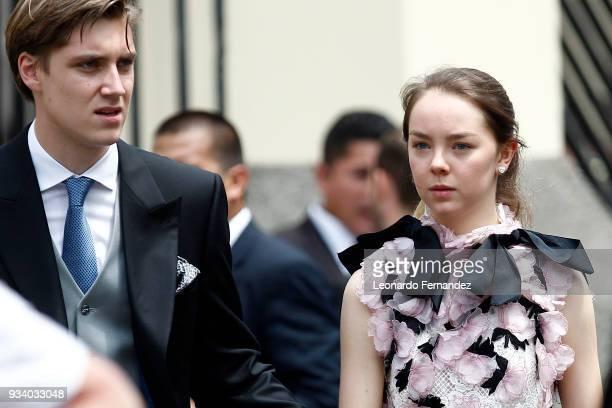 Princess Alexandra of Hanover and BenSylvester Strautmann walk after the wedding of Prince Christian of Hanover and Alessandra de Osma at Basilica...