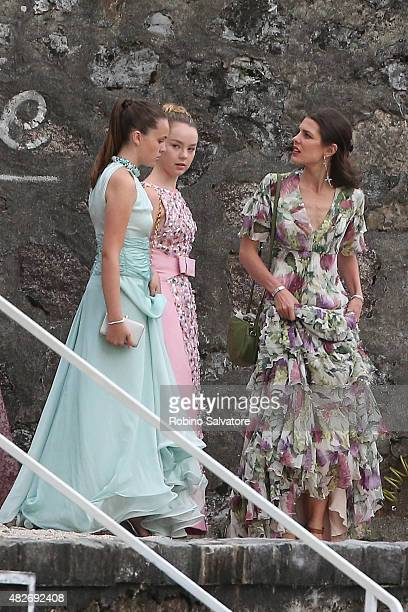 Princess Alexandra of Hanover and Charlotte Casiraghi sighting during Pierre Casiraghi and Beatrice Borromeo Wedding on August 1 2015 in Isola Grande...