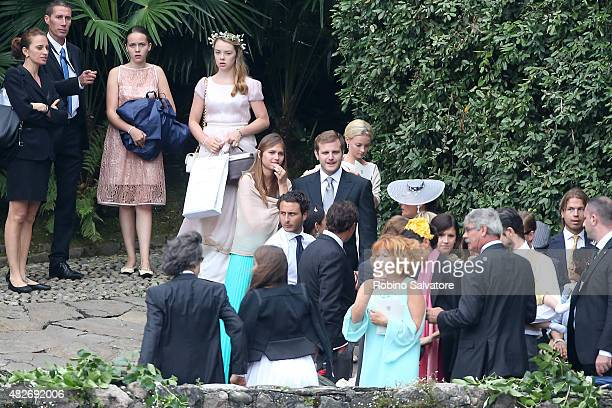 Princess Alexandra of Hanover arrives at Pierre Casiraghi and Beatrice Borromeo Wedding Ceremony on August 1, 2015 in Verbania, Italy.