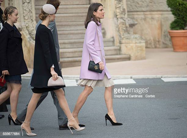 Princess Alexandra of Hanover Beatrice Borromeo and Charlotte Casiraghi arrive to attend a Mass at the Monaco Cathedral during the Monaco National...