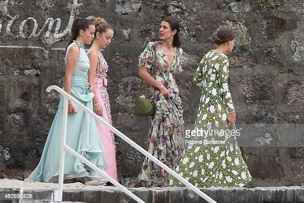 Princess Alexandra of Hanover, Charlotte Casiraghi and Tatiana Santo Domingo sighting during Pierre Casiraghi and Beatrice Borromeo Wedding on August...