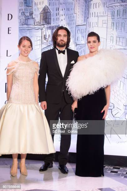 Princess Alexandra of Hanover Dimitri Rassam and Charlotte Casiraghi arrive at the Rose Ball 2018 To Benefit The Princess Grace Foundation at...