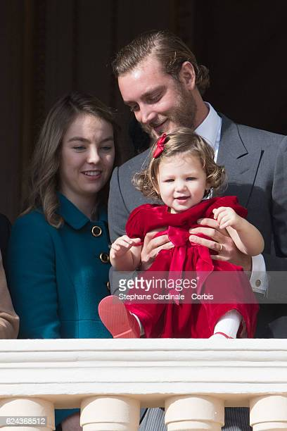 Princess Alexandra of Hanover, India Casiraghi and Pierre Casiraghi greet the crowd from the palace's balcony during the Monaco National Day...