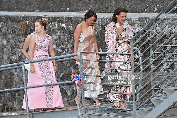 Princess Alexandra of Hanover, Pauline Ducruet and Princess Stephanie of Monaco are seen on August 1, 2015 in ANGERA, Italy.