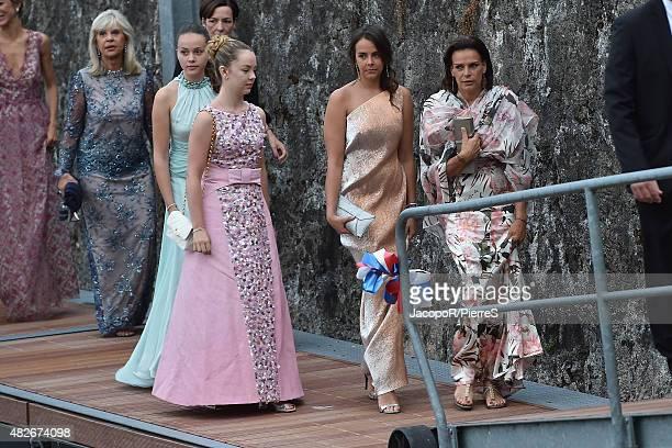 Princess Alexandra of Hanover, Pauline Ducruet, Princess Stephanie of Monaco are seen on August 1, 2015 in ANGERA, Italy.