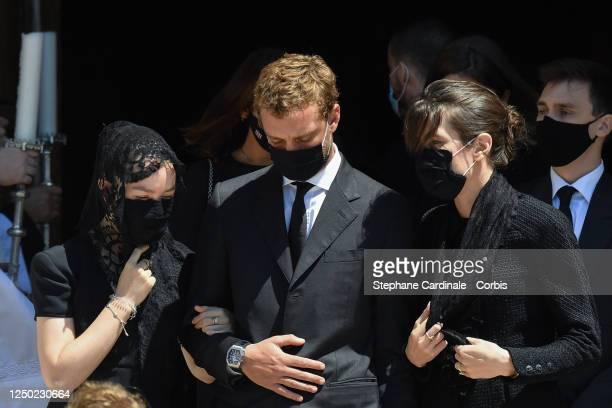 Princess Alexandra of Hanover, Pierre Casiraghi, Charlotte Casiraghi and Louis Ducruet leave the Monaco Cathedral after Elizabeth-Ann De Massy's...