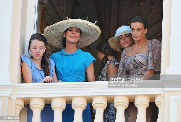 Princess Alexandra of Hanover Princess Caroline of Hanover Charlotte Casiraghi and Princess Stephanie of Monaco attend the civil ceremony of the...