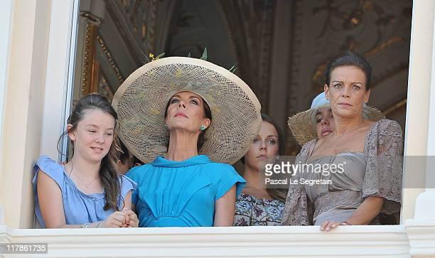 Princess Alexandra of Hanover Princess Caroline of Hanover Pauline Ducruet Charlotte Casiraghi and Princess Stephanie of Monaco attend the civil...