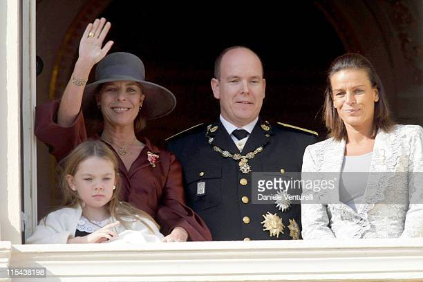 Princess Alexandra of Hanover, Princess Caroline of Hanover, Prince Albert II of Monaco and Princess Stephanie of Monaco watch from a balcony the...