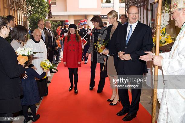 Princess Alexandra of Hanover Princess Caroline of Hanover Princess Charlene of Monaco and Prince Albert II of Monaco attend Parish SaintMartin'...