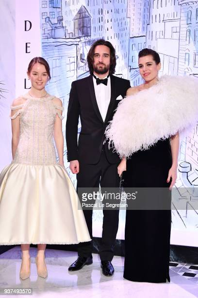 Princess Alexandra of Hanover,Dimitri Rassam and Charlotte Casiraghi arrive at the Rose Ball 2018 To Benefit The Princess Grace Foundation at...