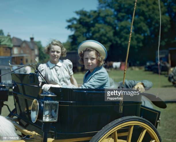 Princess Alexandra of Kent pictured in a trap carriage at the Royal Windsor Horse Show in Windsor, England in June 1944.