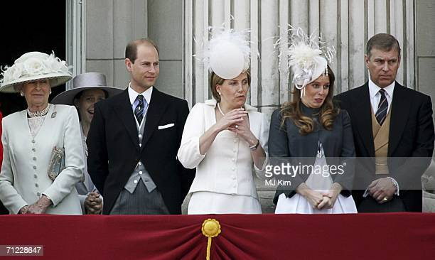 Princess Alexandra of Kent Prince Edward Earl of Wessex Sophie Countess of Wessex Princess Beatrice and Prince Andrew Duke of York stand on the...
