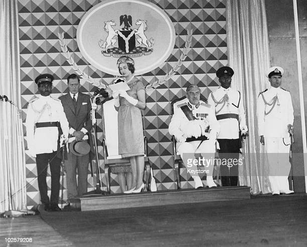 Princess Alexandra of Kent, reads the Queen's speech on her arrival in Lagos, Nigeria, 28th September 1960. The princess is in the country to...