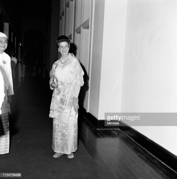 Princess Alexandra of Kent wearing a traditional Burmese costume at a private dinner in Rangoon Burma The dinner hosted by President Win Maung and...