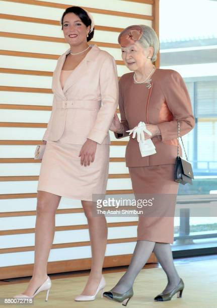 Princess Alexandra of Luxembourg and Empress Michiko walk a corridor prior to their meeting at the Imperial Palace on November 27 2017 in Tokyo Japan