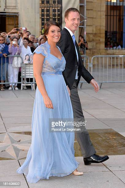 Princess Alexandra Of Luxembourg and Felix Lademacher attend the Religious Wedding Of Prince Felix Of Luxembourg Claire Lademacher at the Basilique...