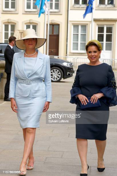 Princess Alexandra of Luxembourg and Grand Duchess Maria Teresa of Luxembourg leave after attending the Te Deum thanksgiving mass in the Cathedral on...