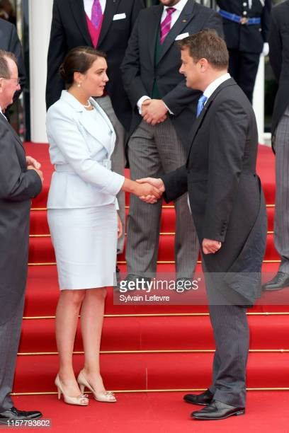 Princess Alexandra of Luxembourg and Luxembourg Prime Minister Xavier Bettel after the concert on the National Day at the Philharmonie on June 23,...