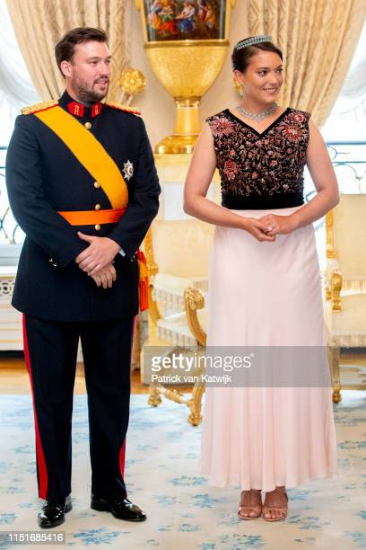 Princess Alexandra of Luxembourg and Prince Sebastien of Luxembourg during the reception at the Grand Ducal Palace on the National Day on June 23...